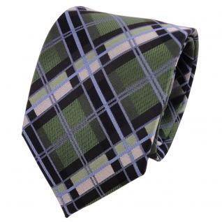 TigerTie Designer Seidenkrawatte grün blau schwarz silber kariert - Krawatte