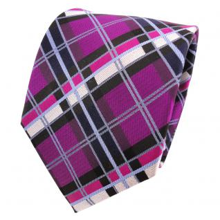 TigerTie Designer Seidenkrawatte magenta schwarz blau silber kariert - Krawatte