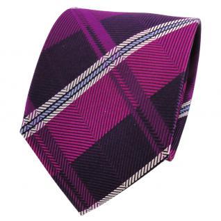 TigerTie Designer Seidenkrawatte magenta lila blau silber gestreift - Krawatte