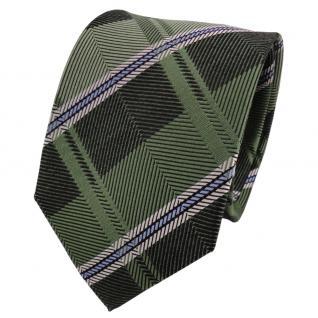 TigerTie Designer Seidenkrawatte grün blau silber gestreift - Krawatte Seide - Vorschau 1