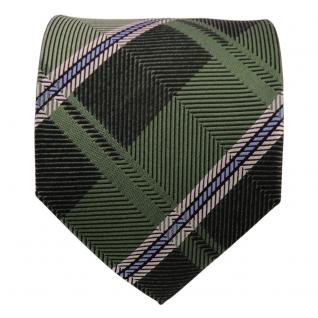 TigerTie Designer Seidenkrawatte grün blau silber gestreift - Krawatte Seide - Vorschau 2