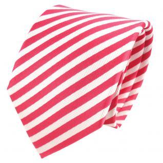 TigerTie Designer Seidenkrawatte rosé erdbeerrot weiß gestreift - Krawatte Seide