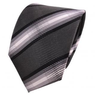 TigerTie Designer Seidenkrawatte grau anthrazit schwarz gestreift - Krawatte