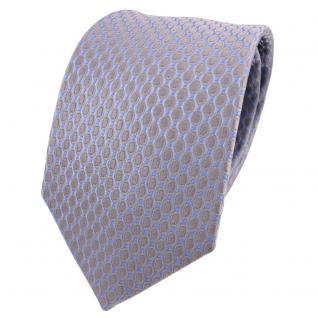 Designer Seidenkrawatte grau silber blau gepunktet - Krawatte Seide Silk