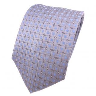 Designer Seidenkrawatte grau blau hellblau silber gepunktet - Krawatte Seide