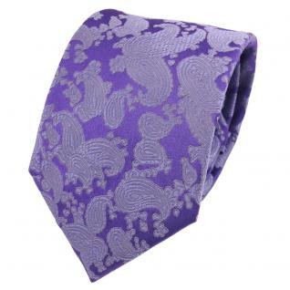 Designer Seidenkrawatte lila flieder blau Paisley gemustert - Krawatte Seide
