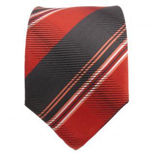 TigerTie Designer Seidenkrawatte orange schwarz weiß gestreift - Krawatte Seide - Vorschau 2