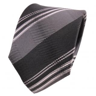 TigerTie Designer Seidenkrawatte grau anthrazit silber gestreift- Krawatte Seide