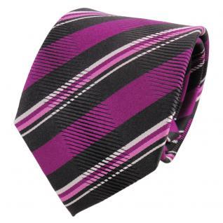 TigerTie Designer Seidenkrawatte magenta anthrazit silber gestreift - Krawatte