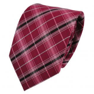 TigerTie Designer Krawatte rot signalrot silber schwarz kariert - Binder Tie