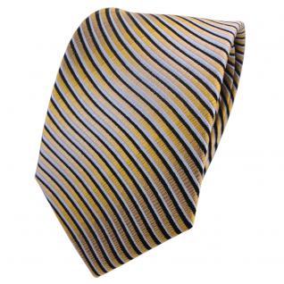 Designer Seidenkrawatte gold schwarz graublau Wellenmuster - Krawatte Seide Tie