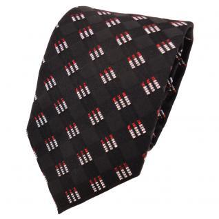 TigerTie Designer Lurex Seidenkrawatte schwarz rot silber gemustert - Krawatte