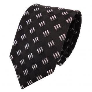 TigerTie Designer Lurex Seidenkrawatte schwarz silber grau gemustert - Krawatte