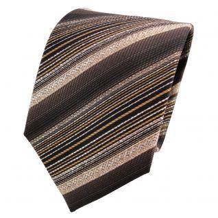 TigerTie Lurex Seidenkrawatte braun dunkelbraun gold gestreift - Krawatte Seide