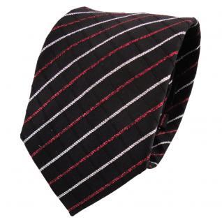 TigerTie Lurex Seidenkrawatte schwarz rot silber gestreift - Krawatte Seide Silk