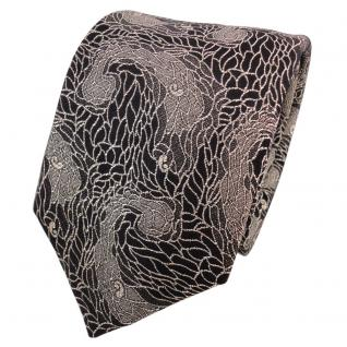 TigerTie Lurex Seidenkrawatte schwarz gold silber gemustert - Krawatte Seide