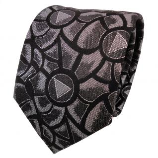 TigerTie Lurex Seidenkrawatte schwarz silber gemustert - Designer Krawatte Seide