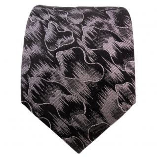 TigerTie Lurex Seidenkrawatte schwarz silber gemustert - Designer Krawatte Seide - Vorschau 2
