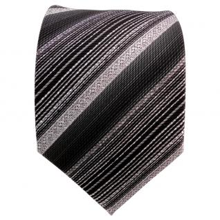 TigerTie Lurex Seidenkrawatte schwarz silber anthrazit gestreift- Krawatte Seide - Vorschau 2