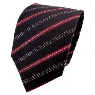 TigerTie Lurex Seidenkrawatte rot schwarz silber gestreift - Krawatte Seide Silk