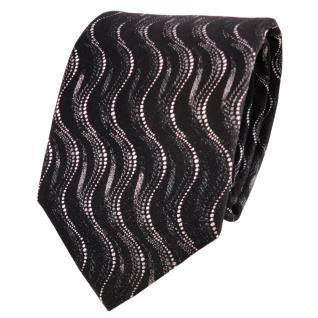 TigerTie Lurex Seidenkrawatte schwarz anthrazit silber Wellenmuster - Krawatte