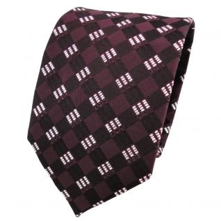 TigerTie Lurex Seidenkrawatte rot weinrot bordeaux silber gemustert - Krawatte