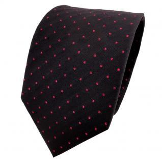 TigerTie Lurex Seidenkrawatte schwarz rot gepunktet - Designer Krawatte Seide