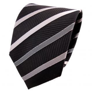 TigerTie Lurex Seidenkrawatte schwarz silber grau gestreift - Krawatte Seide