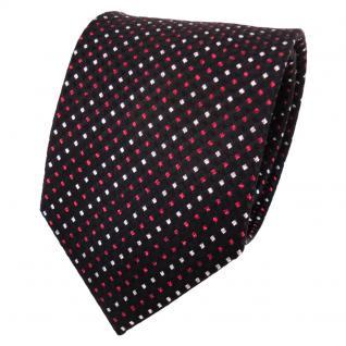 TigerTie Lurex Seidenkrawatte rot schwarz silber gestreift - Krawatte Seide