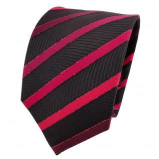 TigerTie Lurex Seidenkrawatte rot bordeaux schwarz gestreift - Krawatte Seide