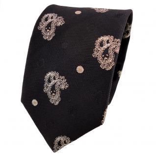 TigerTie Lurex Seidenkrawatte schwarz gold Paisley - Designer Krawatte Seide