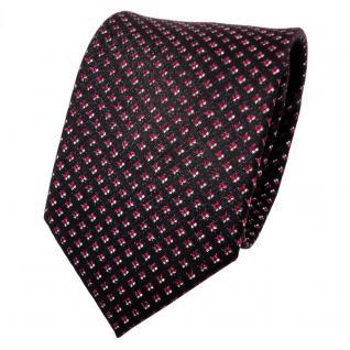 TigerTie Lurex Seidenkrawatte rot silber schwarz gepunktet - Krawatte Seide