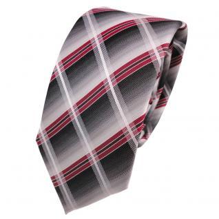 Schmale Designer Seidenkrawatte rot silber grau anthrazit kariert - Krawatte