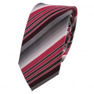 Schmale Seidenkrawatte rot bordeaux grau anthrazit gestreift - Krawatte Seide
