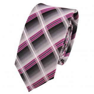 Schmale Designer Seidenkrawatte magenta silber grau anthrazit kariert - Krawatte