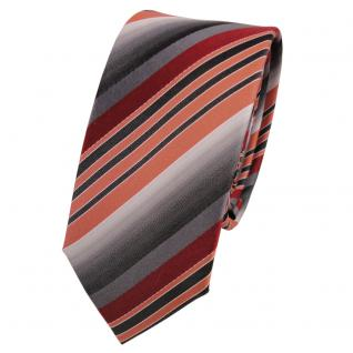 Schmale Designer Seidenkrawatte orange grau anthrazit gestreift - Krawatte Seide