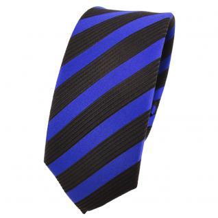 Schmale Designer Seidenkrawatte blau marine schwarz gestreift - Krawatte Seide