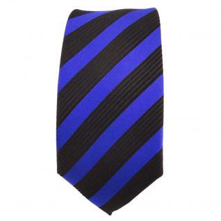 Schmale Designer Seidenkrawatte blau marine schwarz gestreift - Krawatte Seide - Vorschau 2
