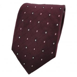 TigerTie Lurex Seidenkrawatte rot bordeaux silber gepunktet - Krawatte Seide