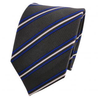 Designer Seidenkrawatte anthrazit grau blau weiß gestreift - Krawatte Seide Tie