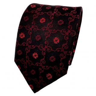 TigerTie Lurex Seidenkrawatte rot bordeaux schwarz gemustert - Krawatte Seide