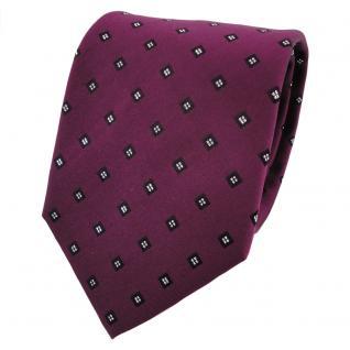 TigerTie Lurex Seidenkrawatte violett bordeaux silber gepunktet - Krawatte Seide