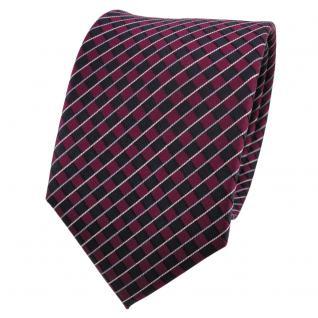 Designer Seidenkrawatte rot bordeaux blau silber gestreift - Krawatte Seide
