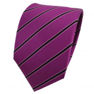 Designer Seidenkrawatte magenta purpur schwarz rosa gestreift - Krawatte Seide