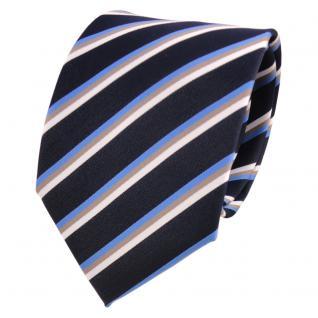Designer Krawatte blau dunkelblau beige weiß gestreift - Schlips Binder Tie