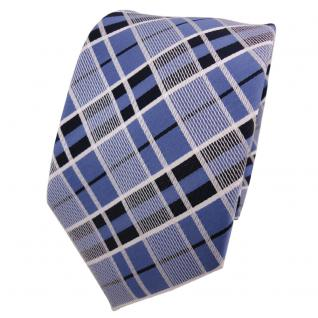 Designer Krawatte blau brillantblau royal weiß kariert - Schlips Binder Tie