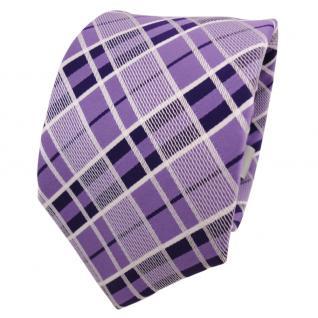 Designer Krawatte lila flieder silber weiß kariert - Schlips Binder Tie