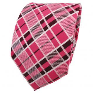Designer Krawatte rot erdbeerrot rosé weinrot weiß kariert - Schlips Binder Tie