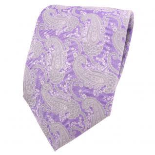 Designer Krawatte lila flieder silber grau Paisley - Schlips Binder Tie