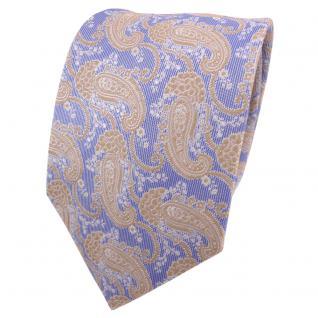Designer Krawatte blau ocker gold silber weiß Paisley - Schlips Binder Tie